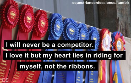 What riding is truly about: accomplishment through goals you set yourself, not through cheap ribbons,