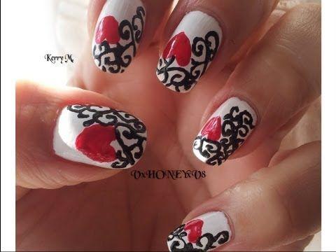 De 261 bsta halloween ideas bilderna p pinterest queenofheartsnailsdesign swirly heart nail design collaboration w prinsesfo Choice Image