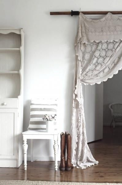 We can find these on etsy! If you like this idea for curtains. ❥ old lace tablecloth to lace curtain