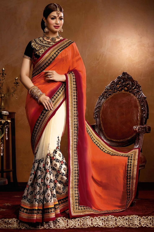Trendy Ayesha Takia Off White & Orange Bemberg Georgette Embroidered Saree
