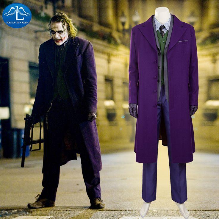 MANLUYUNXIAO Batman The Dark Knight Joker Costume Batman Joker Woolen Suit Halloween Cosplay Costume For Men High Quality  #Affiliate