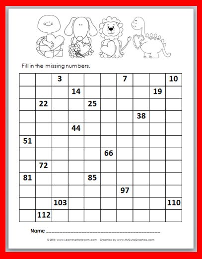 Free Valentine's Day 120 Number Chart FiII-In Printable