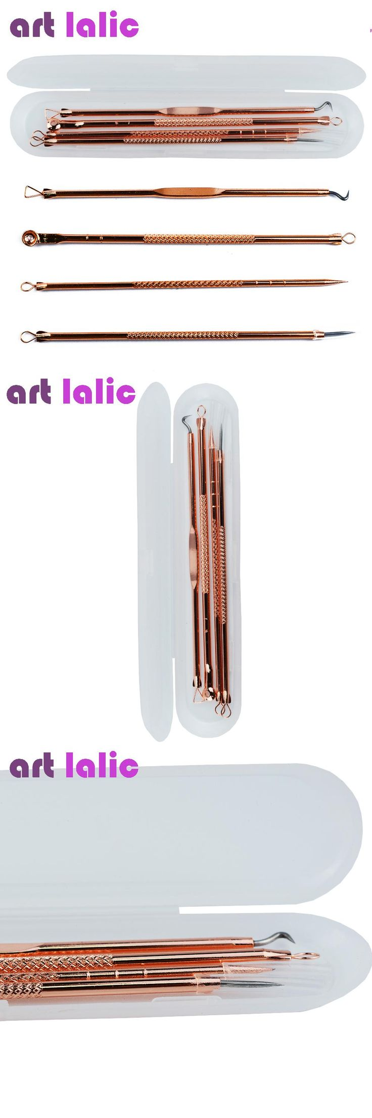 [Visit to Buy] 4Pcs/Set Skin Care Blackhead Come Done Acne Blemish Pimple Extractor Remover Needles Cosmetic Face Cleaning Tool Rose Gold Color #Advertisement