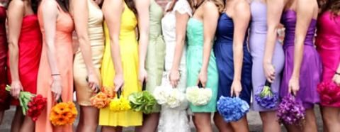 Bridesmaid Dresses for every color of the rainbow! with matching bouquets!