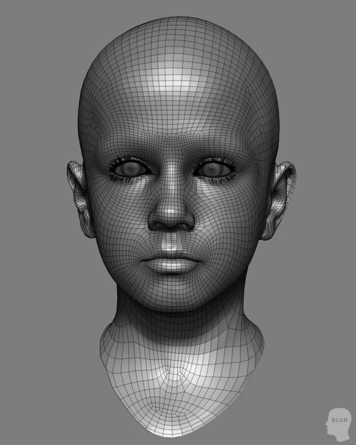 Realistic asymmetrical boy head topology, more awesome shots at the source (artist: James Ku) #Topology #Wireframe3D