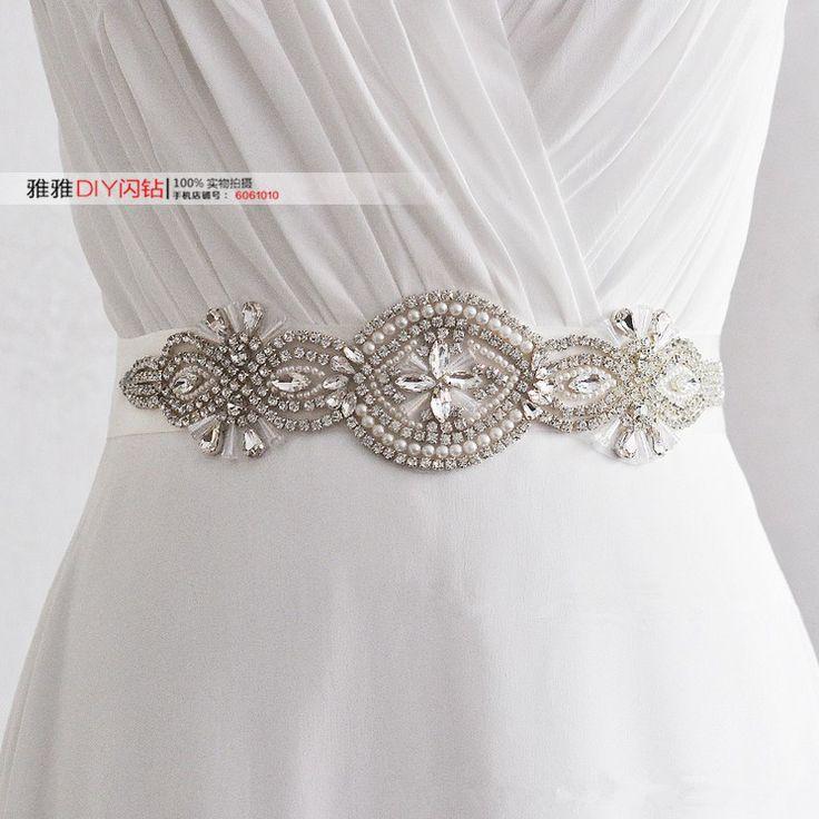 Новые танец живота талии платье невесты свадебное платье стразы украшение тонкий…