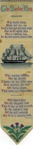 The Sailor Boy, silk bookmark with colored lettering and illustration of a ship; poem by Eliza Cook, M198 S2 C665 (Broadside collection)