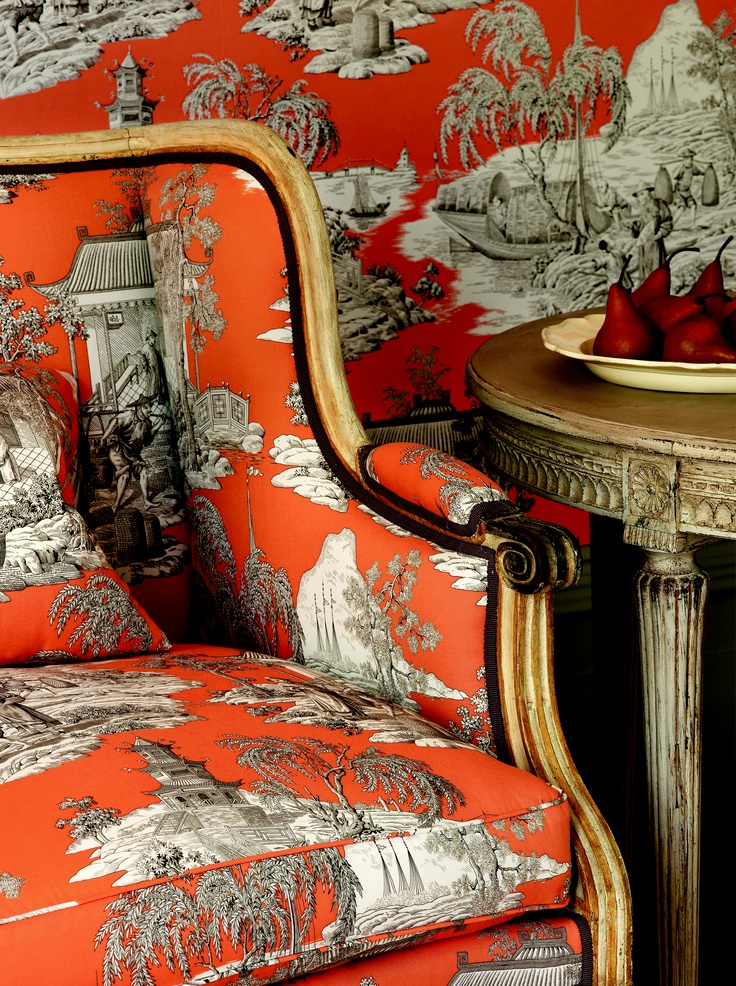 Orange chinoiserie toile from Manuel Canovas