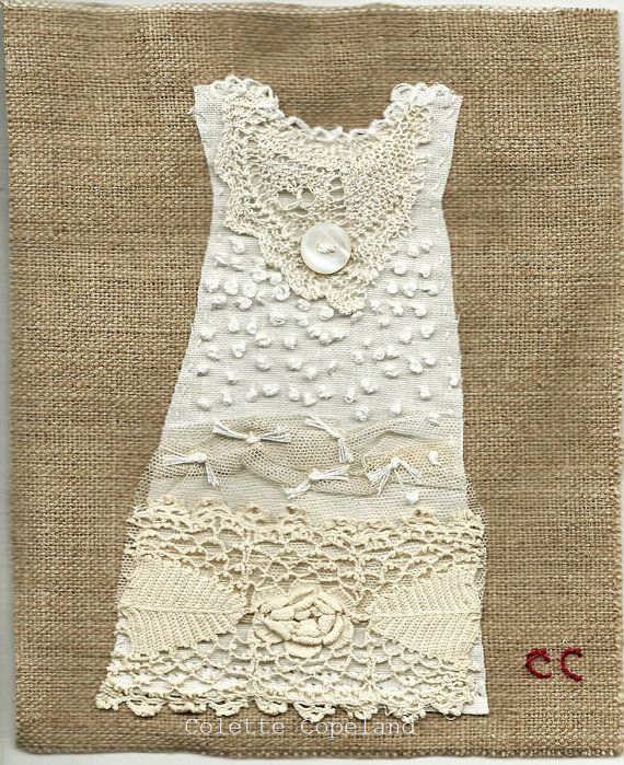 Textile art, stitched and embroidered, My Daughter's Dress 8, white on white