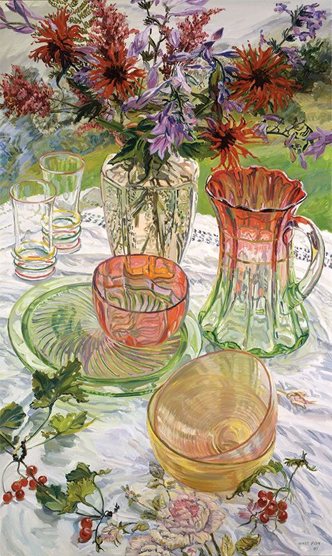 janet fish | Janet Fish, Red and Green Dishes Monarda , 2007. Oil on canvas, 60 x ...