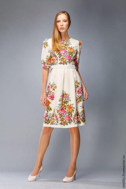 Платье 0103 - белый,цветочный,платье,Платье нарядное,платье узоры,русский стиль