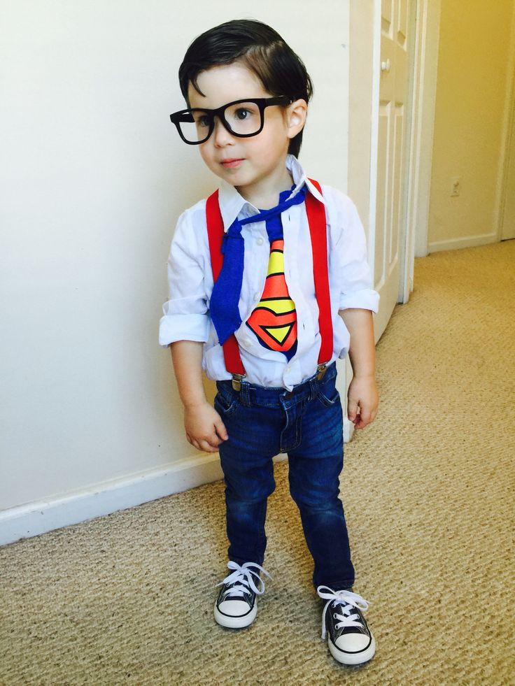 Lyndon dressed up as Clark Kent for Halloween 2015. I think he pulled it off quite well. : ) #clarkkent #superman #cutestcostume #twoyearsold #halloween #toddlercostume