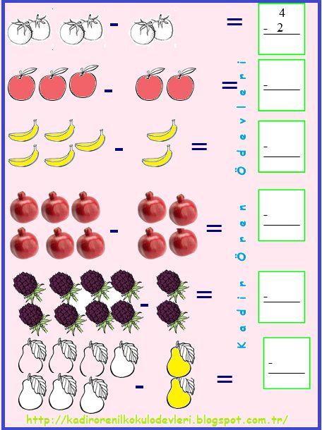 ilkokul ödevleri: 1. snıf çıkarma işlemi ifade etme