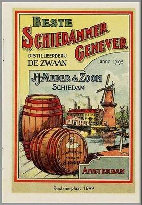 Vintage Poster - Dutch Genever Factory  - De Zwaan - Schiedam - Amsterdam - Holland.