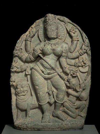 The Hindu deity Durga killing the buffalo demon, 900-1000. India. Granite. The Avery Brundage Collection.
