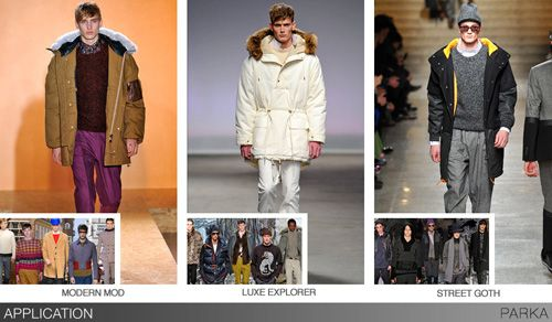 With an abundance of active influences, designers have kept parkas a key part of their assortments, and they will play an important role going forward. Available as year round outerwear, the parka stays strong through versatile fabrics, novel surface treatments, and plenty of convertible design details. In addition to technical materials, styles rendered in suiting fabrics make it a new option over tailored clothing - an interesting contrast of sporty and dressy. Fingertip-length silhouettes…