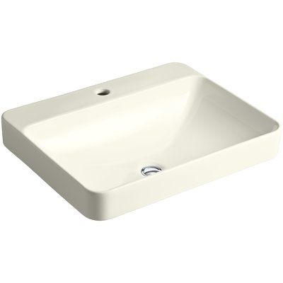 """Kohler Vox Vitreous China Rectangular Vessel Bathroom Sink with Overflow Sink Finish: Biscuit, Faucet Mount: 8"""" Widespread"""