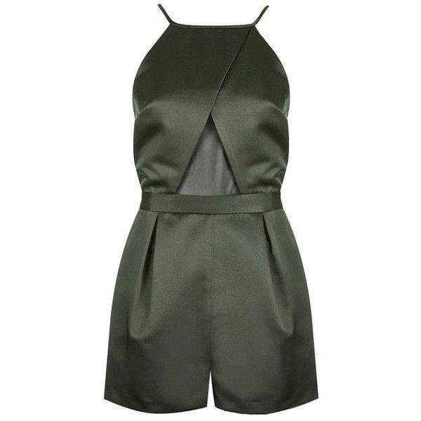 Topshop Olive Green Satin Mesh Romper/Jumpsuit ($60) ❤ liked on Polyvore featuring jumpsuits, rompers, army green jumpsuit, pleated jumpsuit, military green jumpsuit, satin romper and jump suit
