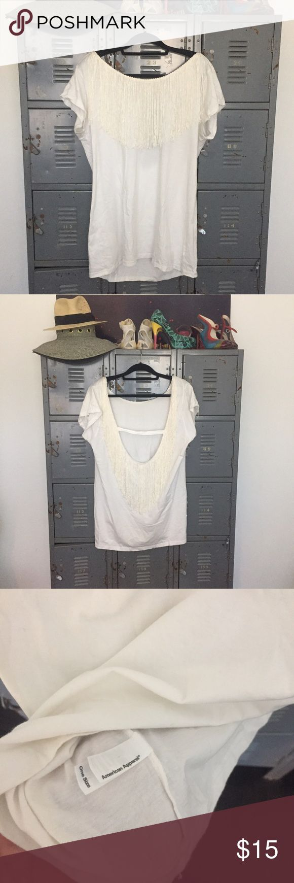 American Apparel Fringe Dress Festival chic. White low-back mini dress with fringe trim detail. One size fits most. Would also look cute belted. 100% Cotton. Hand Wash. American Apparel Dresses Mini