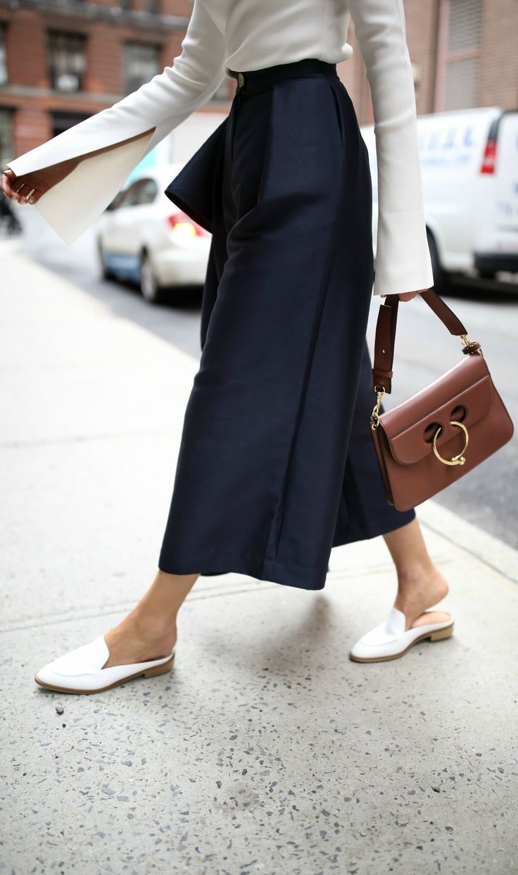 Top 10 Spring Trends to Know // Trend #5: All Things Asymmetrical // click the image for all the details! // ivory one shoulder long sleeve top, navy culottes with ruffles down leg, white mules slides, brown pierce bag {solace london, net-a-porter, everlane, j.w. anderson}