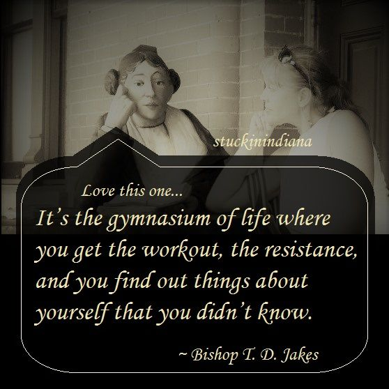 "Think about it... ""It's the gymnasium of life where you get the workout, the resistance, and you find out things about yourself that you didn't know."" ~ Bishop T. D. Jakes #quote"