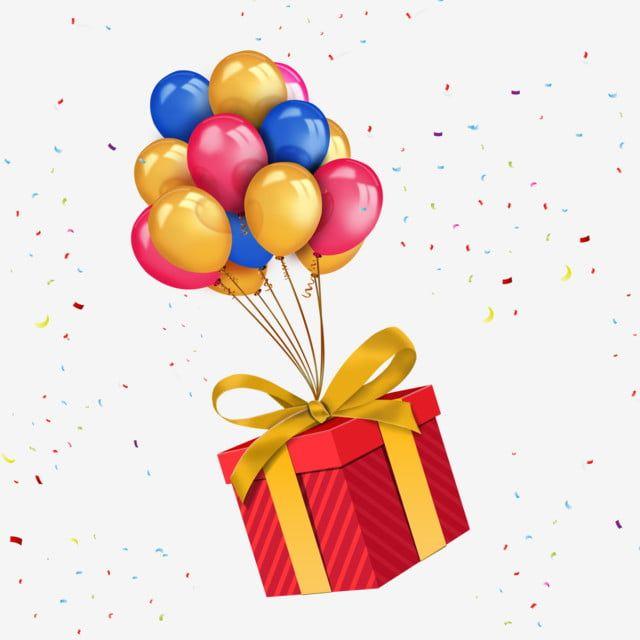 Happy Birthday Ballons With Birthday Gift Box Png Happy Birthday