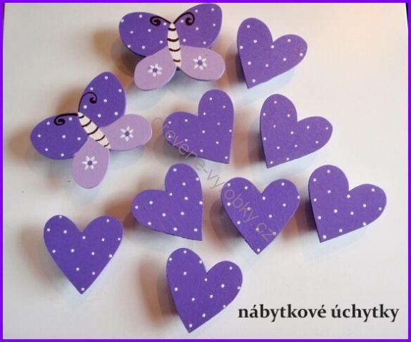 nábytkové úchytky - fialové