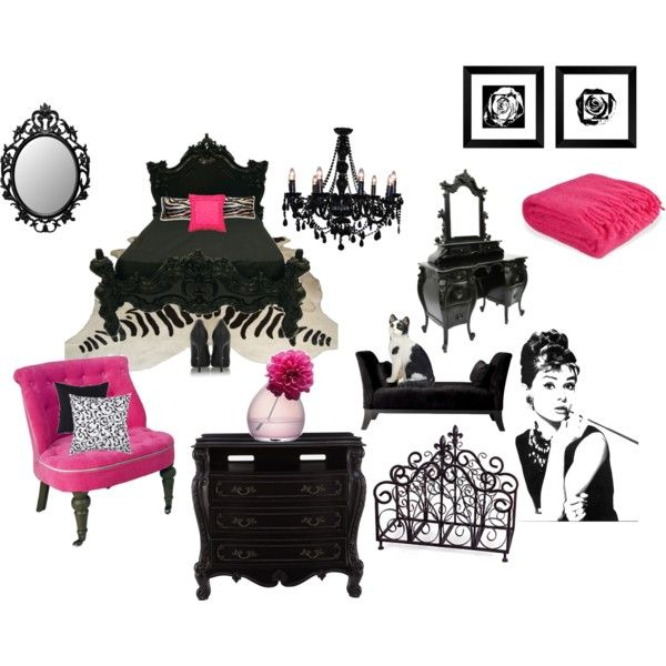 Gothic Pink & Black Bedroom- Polyvore