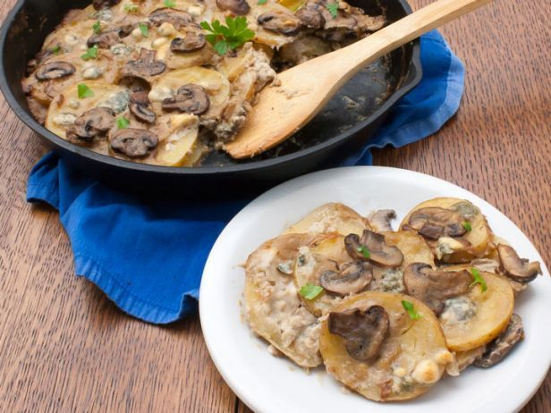 Scalloped Potatoes with Blue Cheese and Mushrooms   Healthy Eats – Food Network Healthy Living Blog