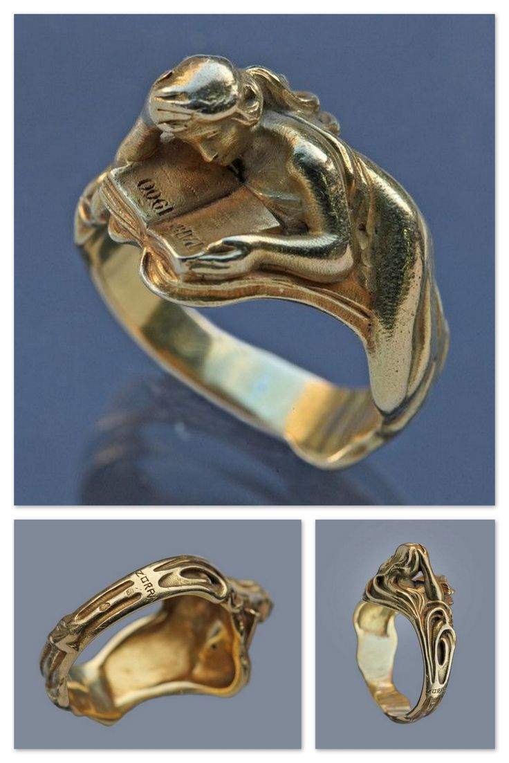 LOUIS ZORRA - Rare Art Nouveau Ring celebrating the Paris 1900 Exhibition.