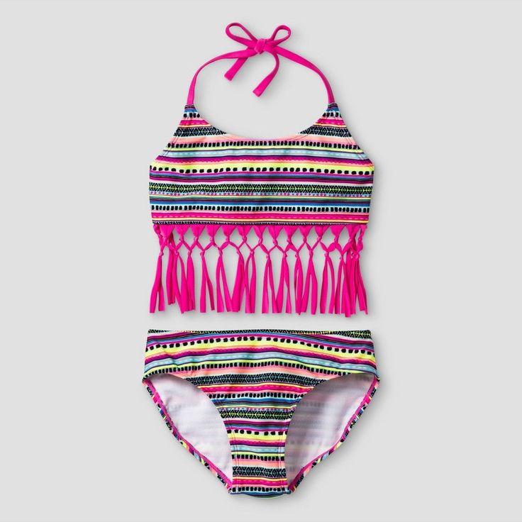 Girls' Bikini Tribal Print with Fringe Cat & Jack - Pink M, Girl's, Multicolored