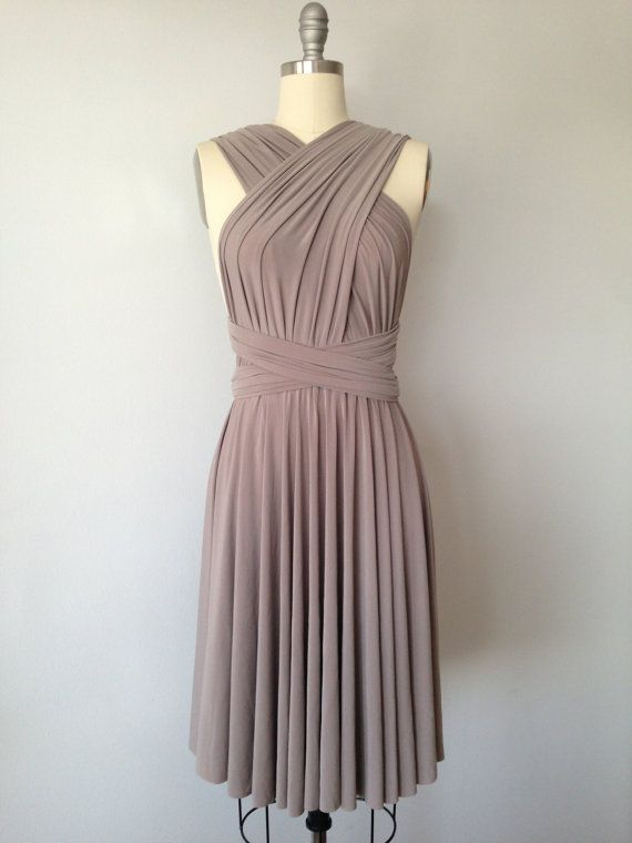 Taupe SHORT Infinity Dress Convertible Formal by AtomAttire