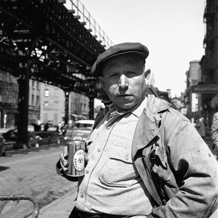 A man with a cap, a beer, and an attitude. April 4, 1955, New York, NY