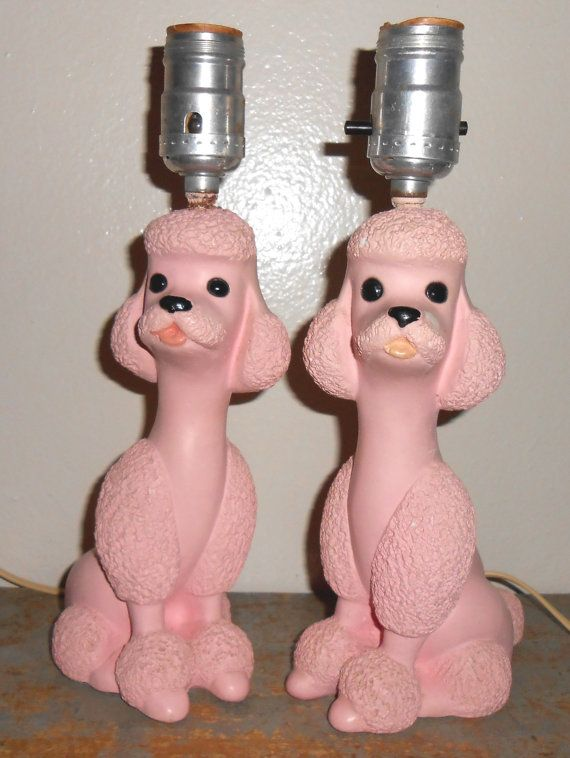 Vintage Lamps, Poodle, Pink, Chalk Ware, Flair, 1956, Pink Poodles, Poodle Lamps, Table Top, Set of Two