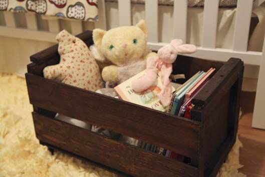 adorable for books, magazines, dog toys, almost anything!: Fruit Crates, Dogs Toys, Homemade Toys, Pallet Projects Nursery, Boxes, Stained Crates, Projects Nurseries, Dog Toys, Doggie Toys