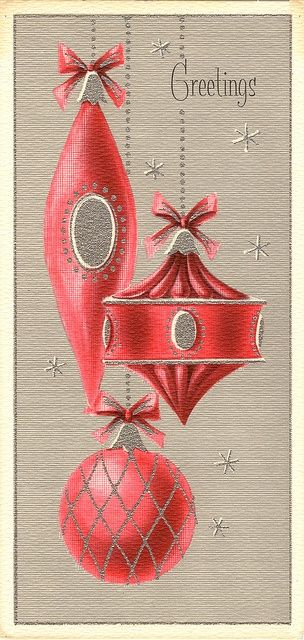 1950s Christmas card with ornaments.
