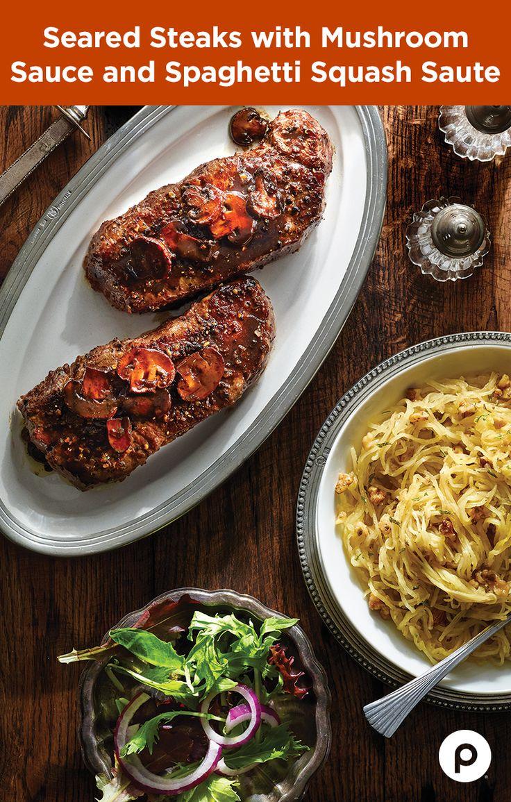 Publix white apron recipes - Seared Steaks With Mushroom Sauce And Spaghetti Squash Saut