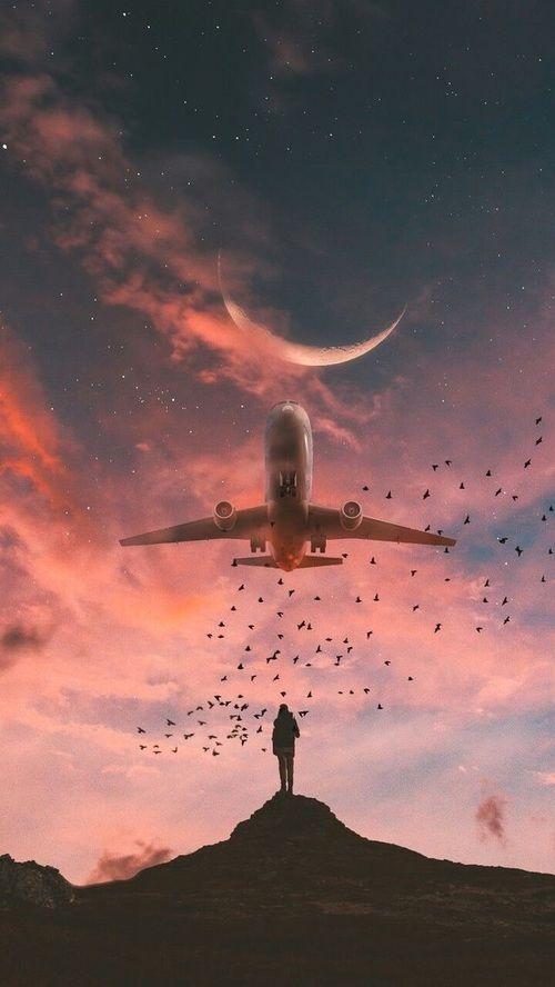 Imagen de sky, moon, and airplane