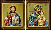 Венчальная пара: Господь Вседержитель, Божией Матери Неувядаемый Цвет. Икона писаная (Шун) 17х21, темпера, золотые нимбы, с ковчегом (цена за пару).