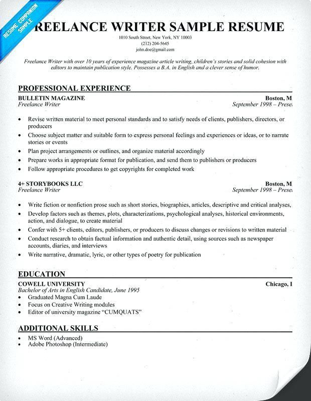 Reelance Writer Sample Resume Examples Write A Resume Template