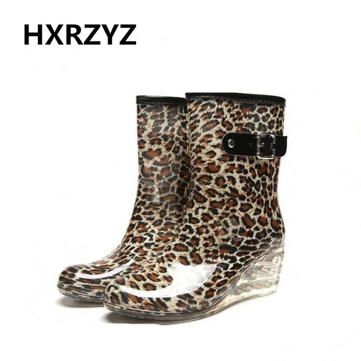 spring and autumn hot new shoes women fashion women wedge rain Boots female buckle slip-Resistant leopard rubber boots for women #Affiliate