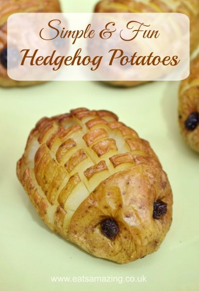 Hedgehog Potatoes Recipe Tutorial from Eats Amazing UK - healthy fun food idea for kids - with full video tutorial