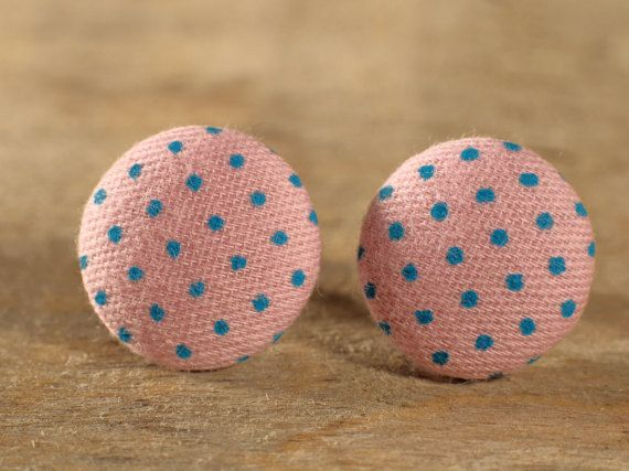 Boucles d'oreilles Bouton en tissu Look vintage par MrAndMrsBeaver