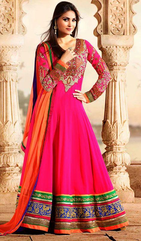 Lara Dutta Pink Georgette Floor Length Anarkali Suit Price: Usa Dollar $188, British UK Pound £110, Euro138, Canada CA$203 , Indian Rs10152.