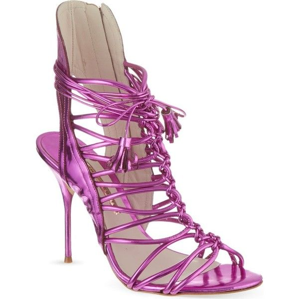 SOPHIA WEBSTER Lacey sandals (8 995 UAH) ❤ liked on Polyvore featuring shoes, sandals, pink, pink strappy sandals, strappy high heel sandals, high heel sandals, strappy sandals and metallic high heel sandals