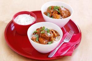 Chicken tikka masala with coriander raita