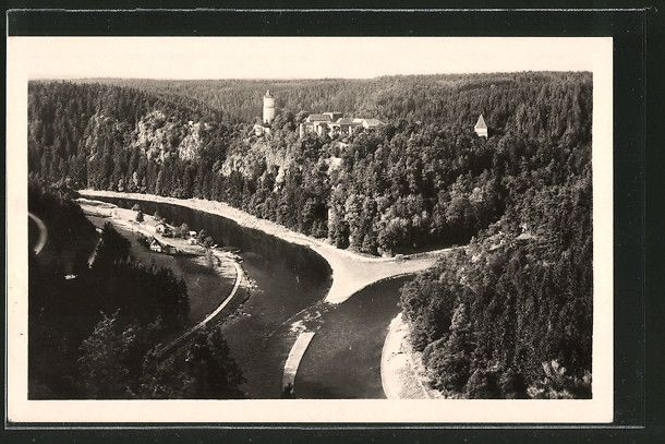 old postcard: AK Hrad Zvikov, Partie am Fluss