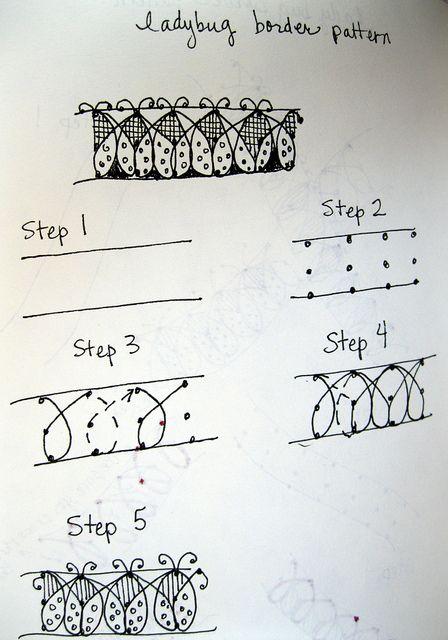 ladybug border tangle instructions #zentangle
