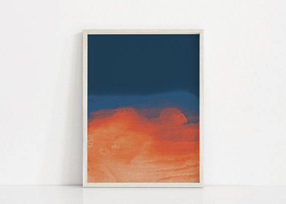 Set Of 2 Abstract Prints Dark Blue And Orange Abstract Art Set Orange And Blue Print Set Navy Art Prin With Images Blue Art Prints Abstract Art Prints Modern Art Prints