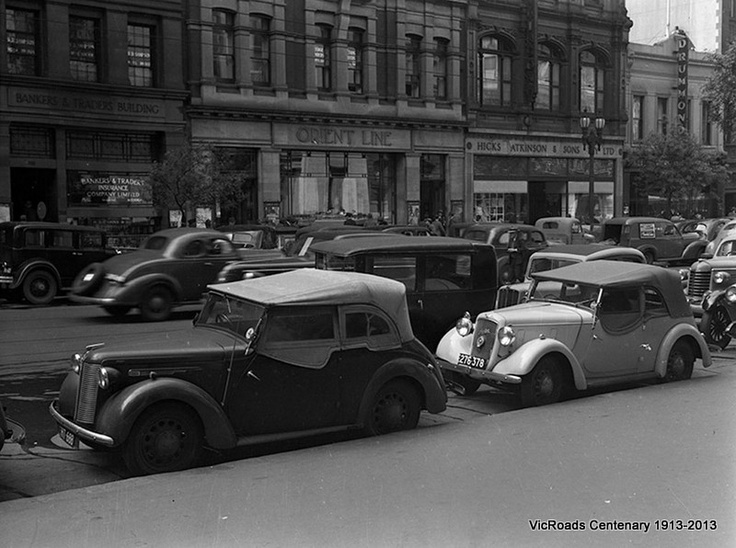Traffic and parking in Collins Street, Melbourne Victoria 1947. VicRoads Centenary 1913-2013.